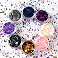 8 Jars of Cosmetic Chunky Glitter Shimmer Body Face Hair Eye Musical Festival Carnival Dance Halloween Party Beauty Makeup Temporary Tattoos Multicolored (40g/1.4oz)+FREE Quick Dry Glitter Glue(10ml)