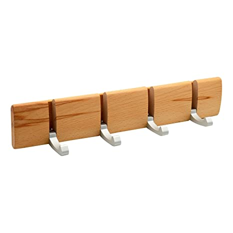 Harbour Housewares Perchero de Pared con 4 Brazos - Ganchos metálicos Plegables - Natural