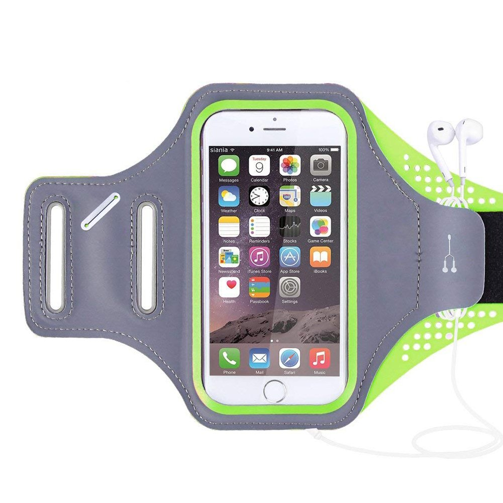 Cellphone Running Sports Armband -Universal Running Arm Band Outdoor Cell Phone Bag with Key Holder Screen Touch for Iphone X 5/5s 6/6 Plus 7/7Plus 8/8 Plus Samsung Galaxy S6/S7 (Green)