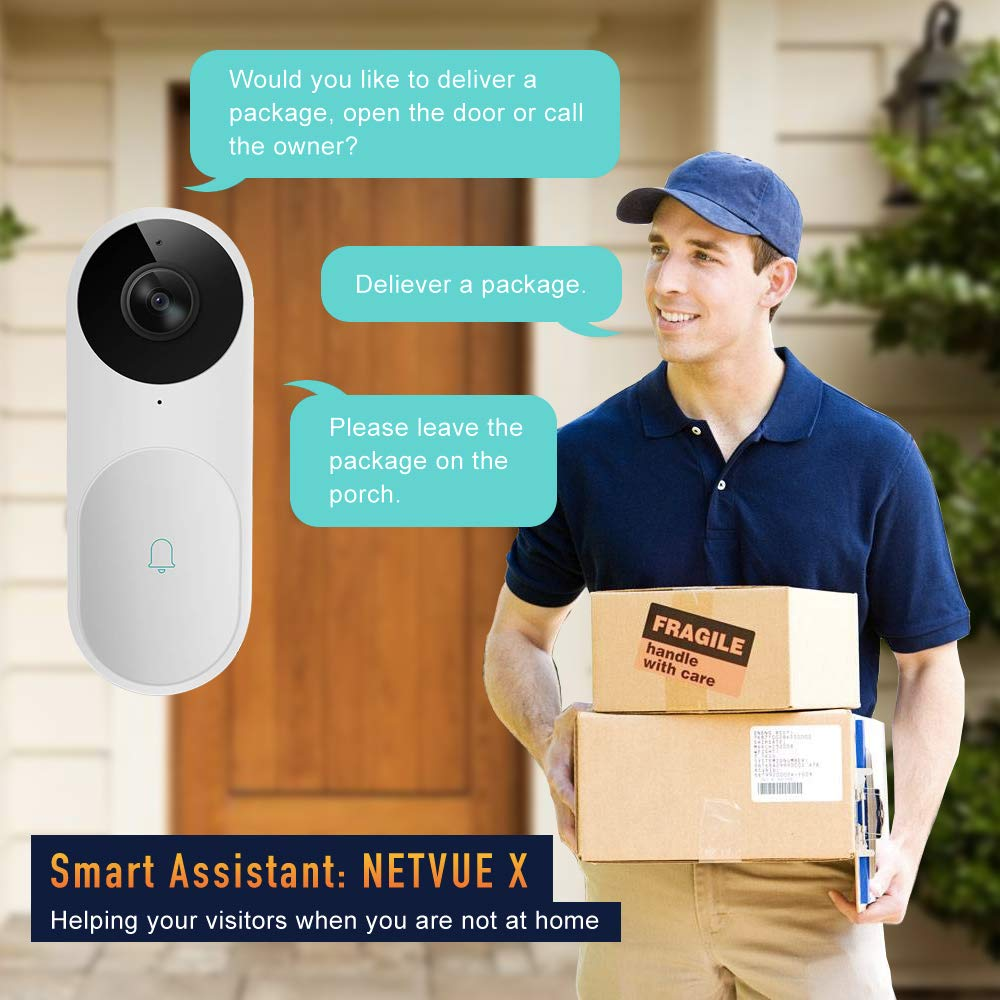 Video Doorbell, A.I. Wifi HD Camera Doorbell with Facial Recognition, Voice Interaction, Night Vision, Motion Detection, Wireless Doorbell, Push Notification, Compatible with Alexa Echo Show by NETVUE (Image #4)