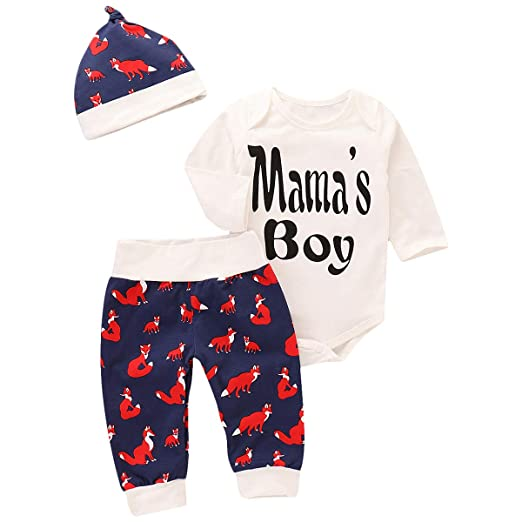a5d1b5758 Amazon.com  Infant Toddler Baby Girls Outfits Mama s Boy Print ...