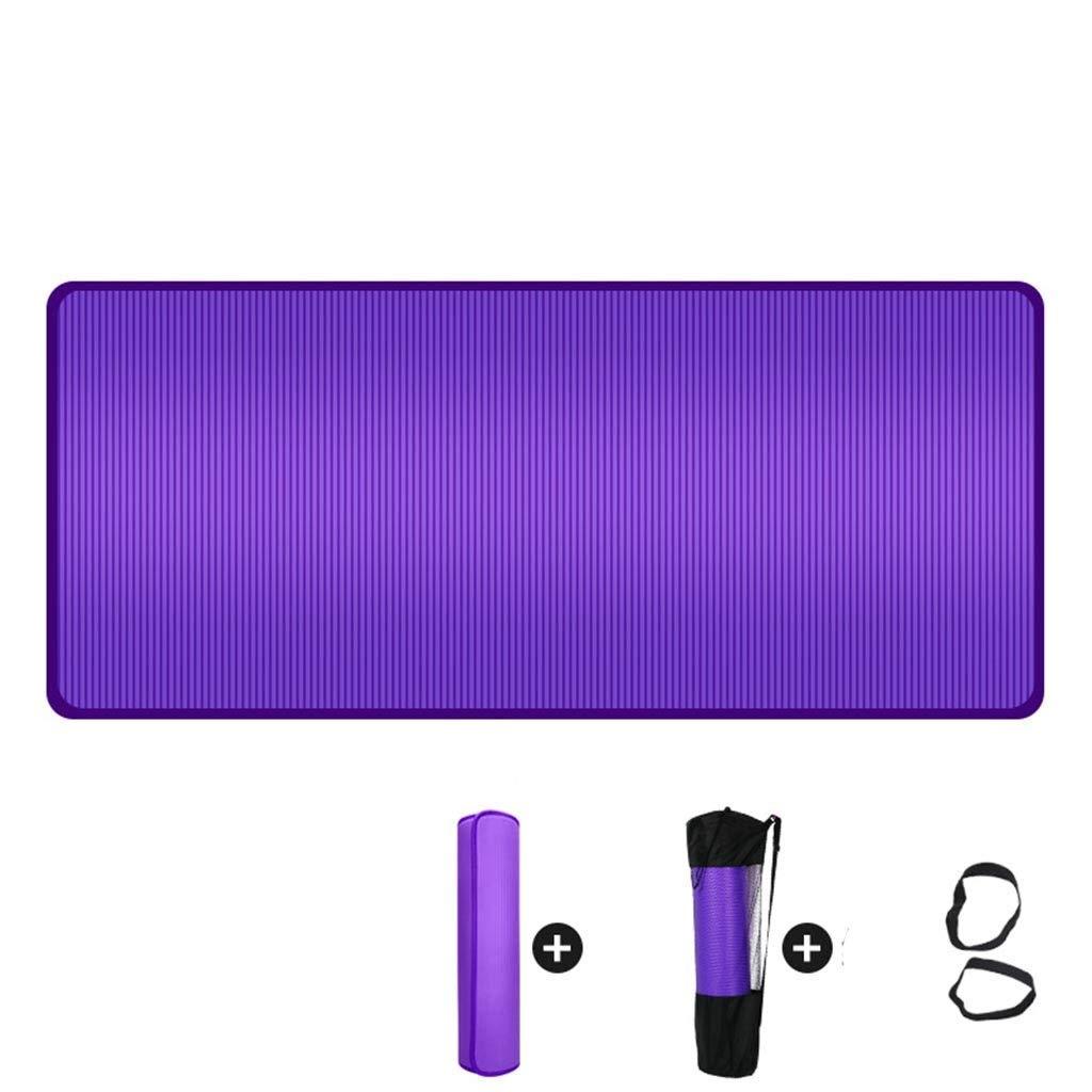 初心者マットに適した滑り止めヨガマット厚いヨガマットマルチカラーサイズオプション (色 : ブラック, サイズ さいず : 185*80*1cm) B07NMD25F5 185*90*1.5cm|紫の 紫の 185*90*1.5cm