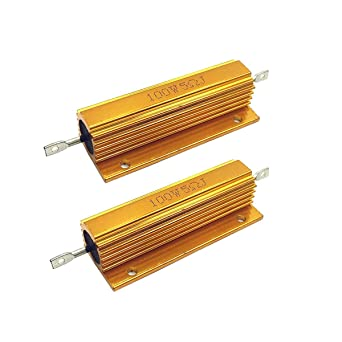 WEIJ 2 Pcs Gold Tone 100W 5 Ohm 5/% Aluminum Housed Wire Wound Resistor