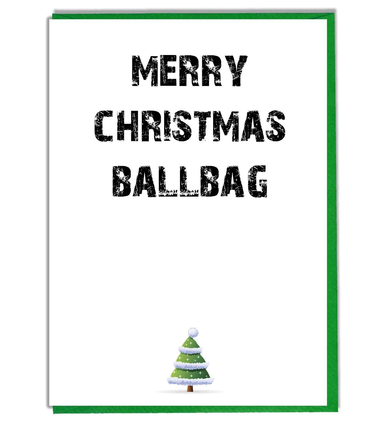 Funny/Rude Witz Weihnachtskarte – Frohe Weihnachten Ballbag: Amazon ...