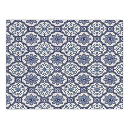 r Tablecloth,Arabian,Arabesque Floral Oriental Persian Afghan Medieval Baroque Tiles Shapes Tribal Artsy,Blue White,Dining Room Kitchen Picnic Table Cloth Cover,for Outdoor Indoor ()