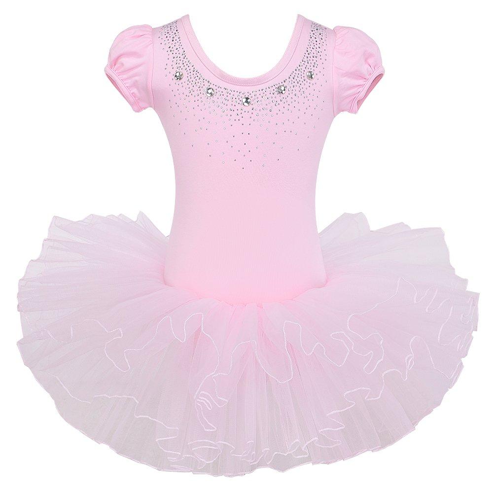BAOHULU Kids Leotards for Dance Short Sleeve Rhinestone Ballet Tutu Dress for Little Girls 3-8 Years B093_Pink_L by BAOHULU