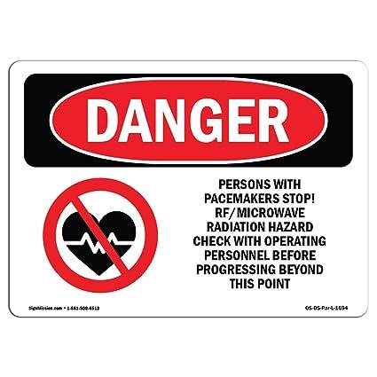 Señal de Osha Danger - Pacemakers Stop Rf radiación de microondas ...