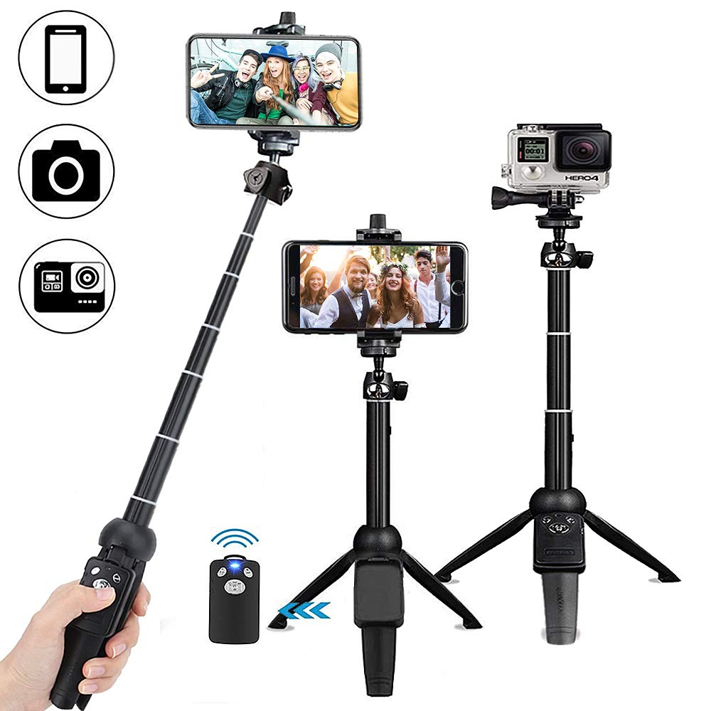 Selfie Stick Bluetooth, OYRGCIK Extendable Selfie Stick Tripod with Wireless Remote for iPhone X/XS/XS Max/XR/iPhone 8/8 Plus/7/7 Plus/6S, Samsung Galaxy S9/S9 Plus/S8/S8 Plus/S7/Note 8, GoPro Cameras Selfie Stick Tripod Black