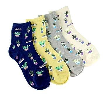 XMDNYE Calcetines Estampados del Patrón De La Planta De 4 Pares De Las Mujeres Calcetines Calientes