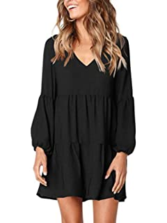 858c294376aa3d Uvog Women's Ruffle Tunic Dress Long Sleeve Pleated Swing Dresses V Neck  Casual Loose T Shirt