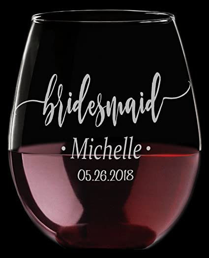 de13741fcf8 Amazon.com | ONE 21oz Stemless Wine Glass for Bride, Bridesmaid Gift Custom-  Maid of Honor- Mother of the Bride Groom Wedding Party Favors Gift Idea:  Wine ...