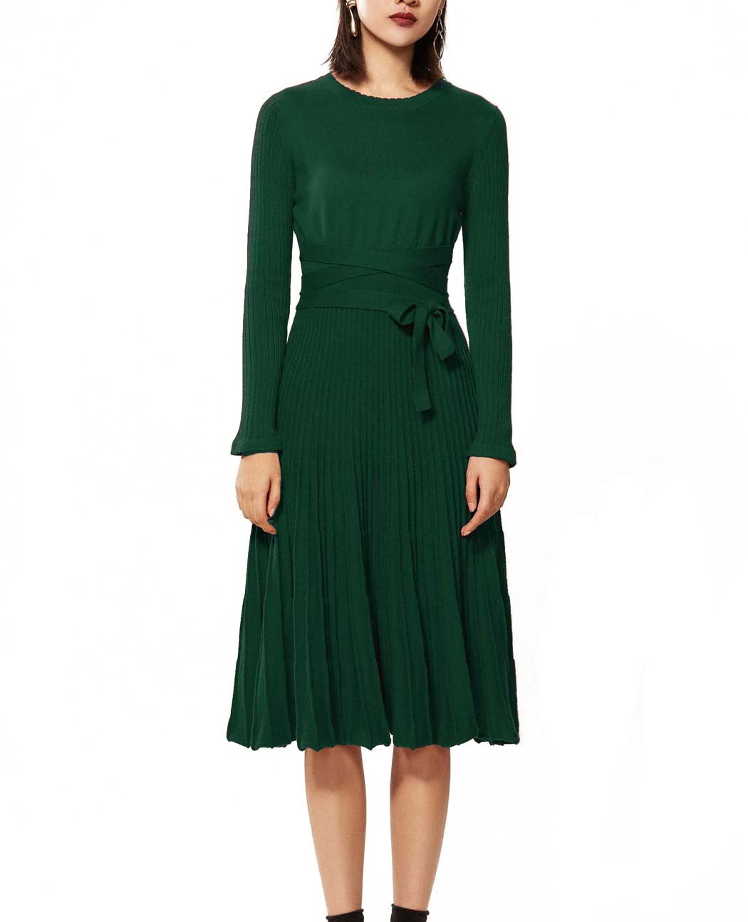 FINCATI Long Sweater Dress 2018 Spring Autumn Cashmere Belt Fitted Waist Pleated Midi Style Maxi Dresses (Green, S)