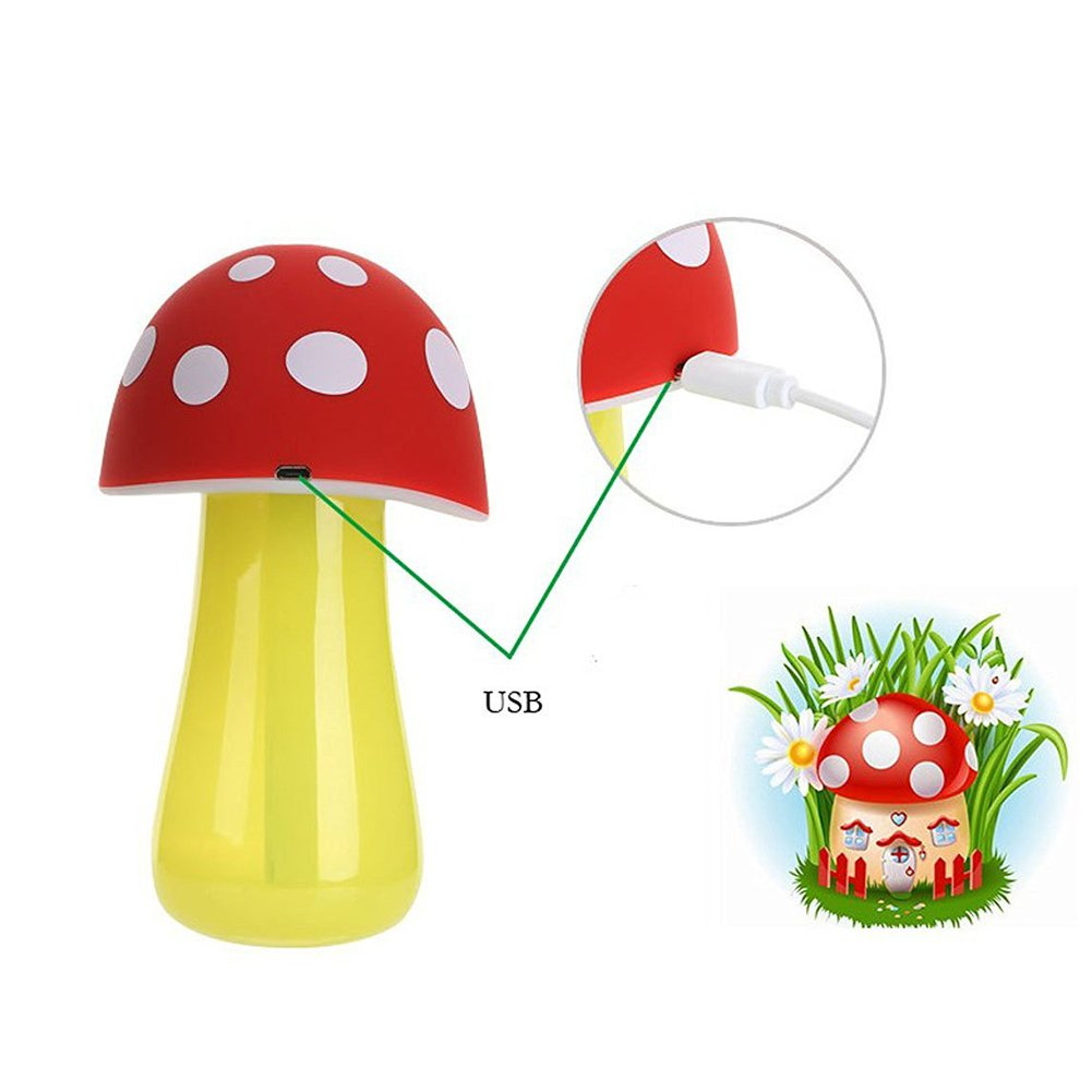 Topbeu Creative Mushroom Shape Ultrasonic Cool Mist USB Baby Room Bedroom Spa Car Humidifier with Auto Shut-off Function (Red) by Topbeu (Image #4)
