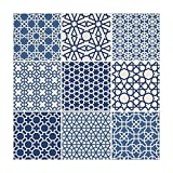 iPrint Polyester Square Tablecloth,Arabian,Arabesque Islamic Motifs with Geometric Lines Asian Ethnic Muslim Ottoman Element,Blue White,Dining Room Kitchen Picnic Table Cloth Cover,for Outdoor Indoor