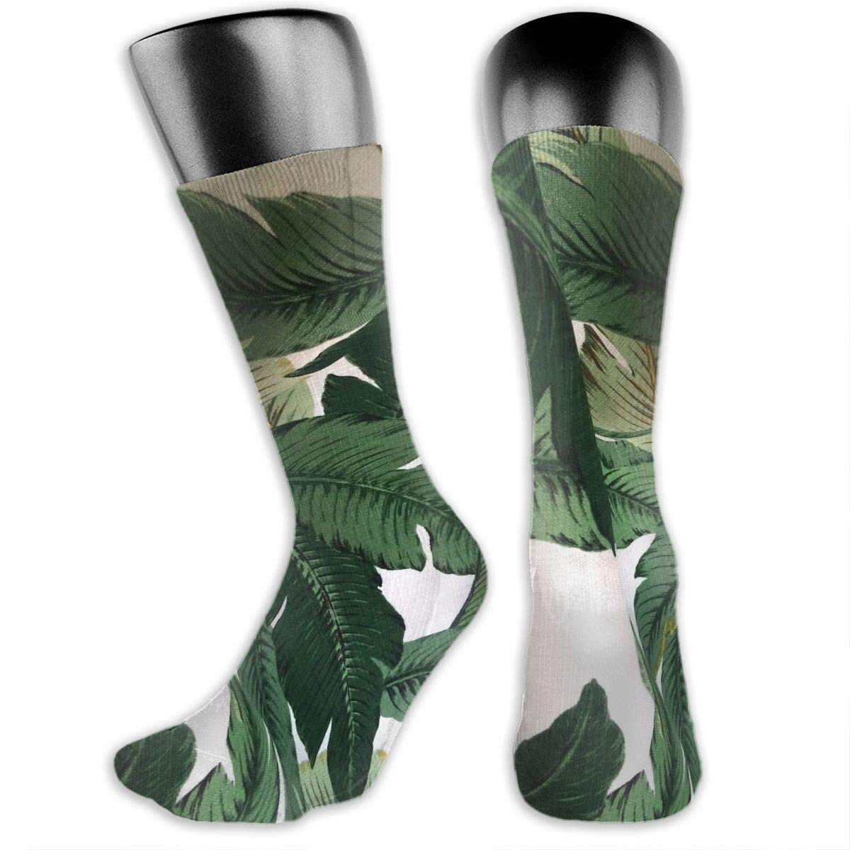 OLGCZM Dark Green Palm Banana Leaves Men Womens Thin High Ankle Casual Socks Fit Outdoor Hiking Trail