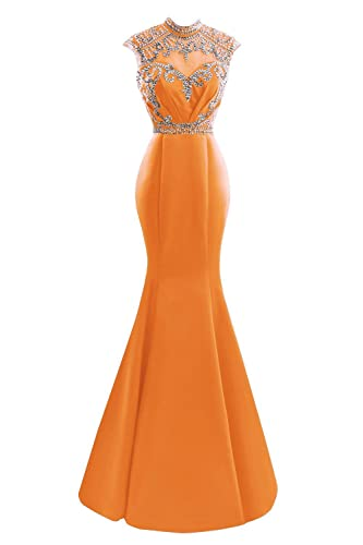 SDRESS Women's Elegant Sequines Cap Sleeve High Neck Long Mermaid Formal Evening Dress