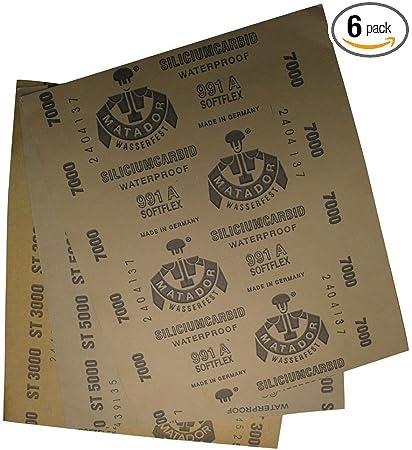 """9/""""x11/""""  1500//2000//2500//3000//5000//7000 PREMIUM FINE SANDPAPER Wet Dry 12 Pc"""
