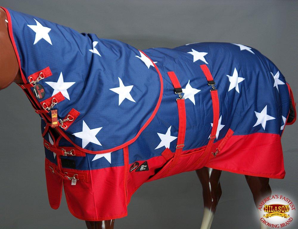 HILASON 72 1200D Waterproof Winter Horse Hood Blanket Belly WRAP American Flag