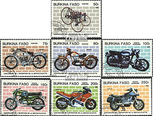 Burkina Faso 998-1004 (Complete.Issue.) 1985 100 Years Motorcycle (Stamps for Collectors) Road Traffic