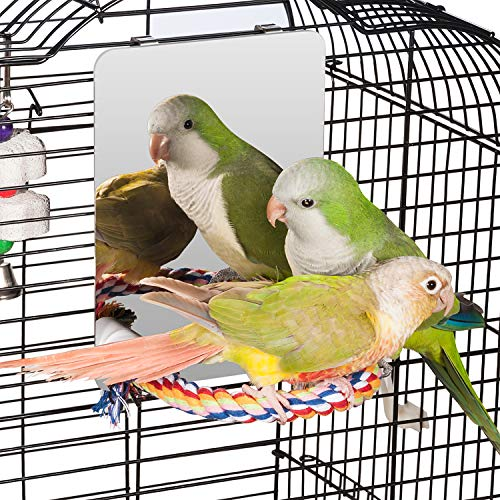 Colorday 7 inch Stainless Steel Bird Mirror with Rope Perch, Bird Toys Swing, Comfy Perch for African Grey Parakeet Cockatiel Conure Lovebird Finch Canaries