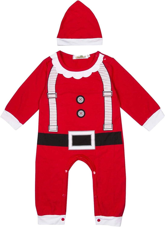 Body para Bebé Recién Nacido Unisex Invierno Navideño Mameluco Bebé Navidad Manga Larga con Dibujo Papá Noel y Alce Mono Bebé Unisex para Niños de 0-24 Meses