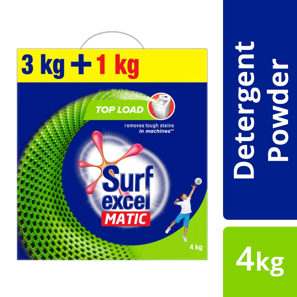 Surf Excel Matic Top Load Detergent Washing Powder, Specially Designed For Tough Stain Removal In Top Load Machines, 3+1 Kg Free