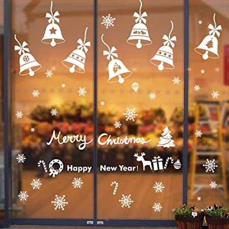 Christmas Window.Tebrun Christmas Snowflake Window Stickers Reusable Static Snow Flake Window Clings Pvc Xmas Window Ornament For Christmas Window Display 5