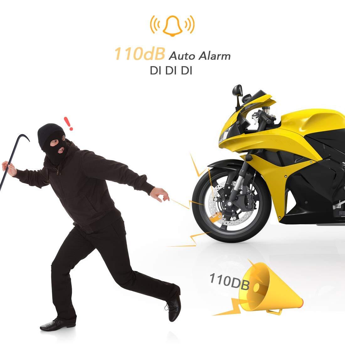 AGPTEK Candado Disco Moto con Alarma Antirrobo Acero 7mm 110DB para Motos, Motocicletas, Bicicletas, Candado Bloqueo para Moto Impermeable con Bolsa y ...