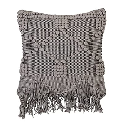 Bloomingville Textured Grey Cotton Pillow - Amazing thick texture design with fringe Made with soft cotton Filling is 100% polyester - living-room-soft-furnishings, living-room, decorative-pillows - 61QdJPC99nL. SS400  -