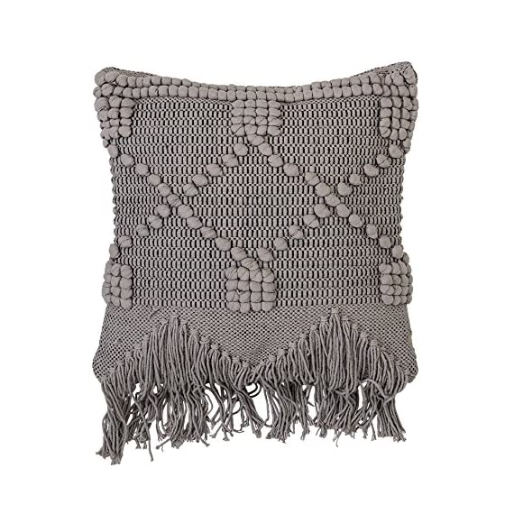 Bloomingville Textured Grey Cotton Pillow - Amazing thick texture design with fringe Made with soft cotton Filling is 100% polyester - living-room-soft-furnishings, living-room, decorative-pillows - 61QdJPC99nL. SS570  -
