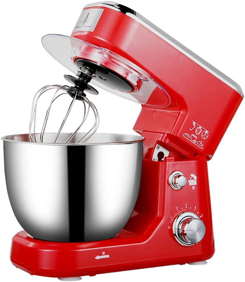 4 litros mezclador de pasta de alimentos totalmente automático, pequeño batidor de huevos multifunción, máquina de amasar, removedor, máquina de chef batidor de huevos rojo: Amazon.es: Hogar
