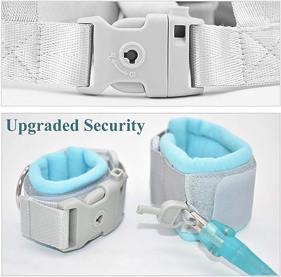 Imbracatura di Sicurezza per Bambini,Xiuyer 2 in 1 Anti-Perso Cintura da Polso Cinturino con Blocco Guinzaglio di Sicurezza per Ragazzi e Ragazze Passeggio Blu, 2.5 metri