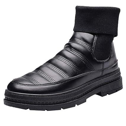 LuckyGirls Botas Calcetines Zapatos Splicing Forrada De Piel Elástico Calzado Zapatillas para Hombre