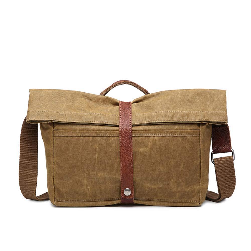 HaloVa Men's Messenger Bag Genuine Leather Crossbody Bag Side Shoulder Bag Daypack School Working Business Trip Travel Waterproof Wear Resistant Khaki