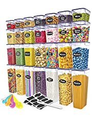 28 Piece Airtight Food Storage Containers with Lids - Ideal Kitchen Storage Containers with Lids, Airtight - High Quality BPA Free Plastic Pantry Containers for organization and storage - BONUS - Chalkboard Labels, Chalk and Measuring Spoons Included