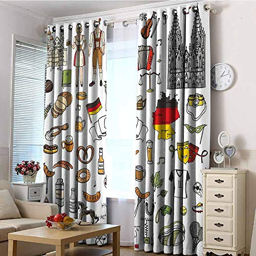 EwaskyOnline Custom Curtains,German Hand Drawn Doodle of German Culture Icons Football Jersey Food Science and Music,Darkening Thermal Insulated Blackout,W84x84L Multicolor Coastal Custom Football Jerseys