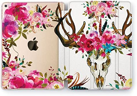 222866a67272f Wonder Wild Protective iPad 2018 2017 Pro 9.7 inch Auto Wake Sleep Peony  Bohemian Skull Flowers Floral Print Design Vintage Watercolor Cover Clear  ...
