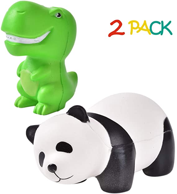 QIJUN Jumbo Squishy Toys Squishies Panda Squishies Dinosaur Kawaii Squishies Slow Rising Squeeze Soft Novelty Toy Stress Relief Toys Party Gifts Decorative Props Large(2 Pack)