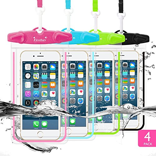 Waterproof Case, Firstbuy Waterproof Phone Case Dry Bag Waterproof Pouch Perfect Underwater Full Body Cover Protective for Outdoor With Luminous Ornam 4 Pack