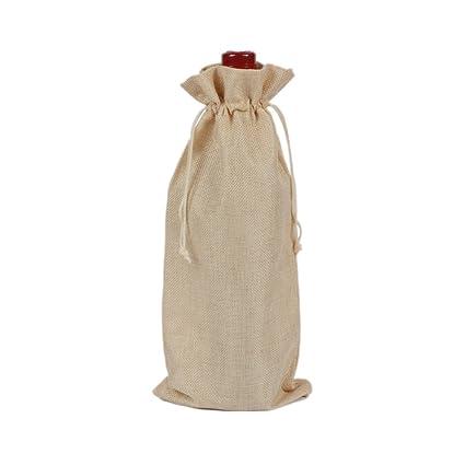 Bolsas de vino de yute natural rústico con cordón, bolsa de regalo para botellas de vino, cubierta de botella para organización Tamaño libre beige