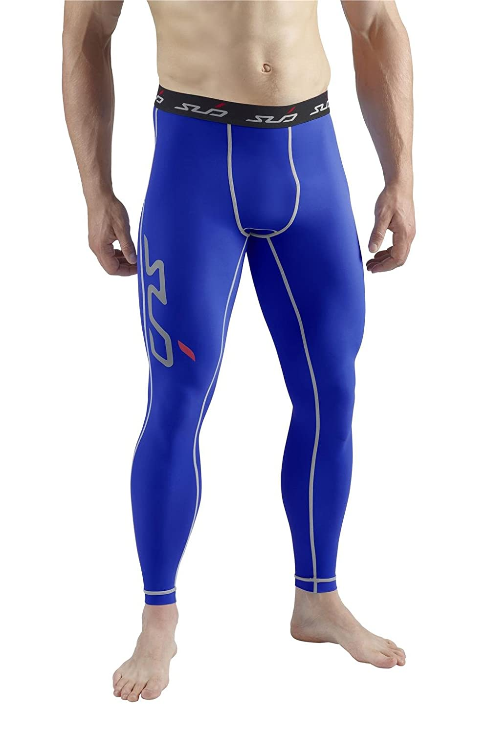 Mens SUB SPORTS DUAL Compression Base Layer Leggings For Soccer Running Cycling ROYAL BLUE