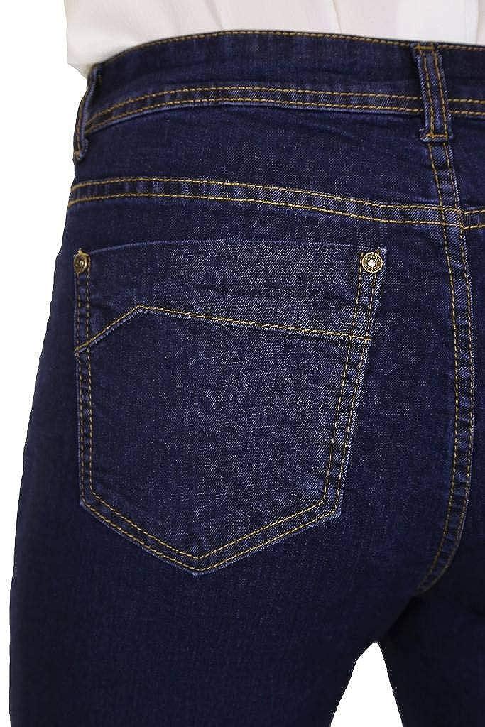 ICE Donna Pantaloncini in Jeans Denim con Un Contrasto Alzare in Blu 42-52