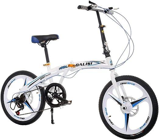 Bicicleta Plegable Unisex 20 Pulgadas Freno de Disco Doble 7 ...