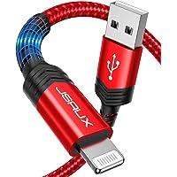 JSAUX Cable iPhone [Certificado MFi C89] 1.8M Duradero Cable de Carga iPhone Lightning USB Nylon Trenzado Compatible con…