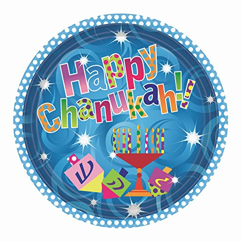 "Hanukkah Party Paper Plates Menorah Design on Chanukah Party Paper Plates 10.25"" Pack of 20"