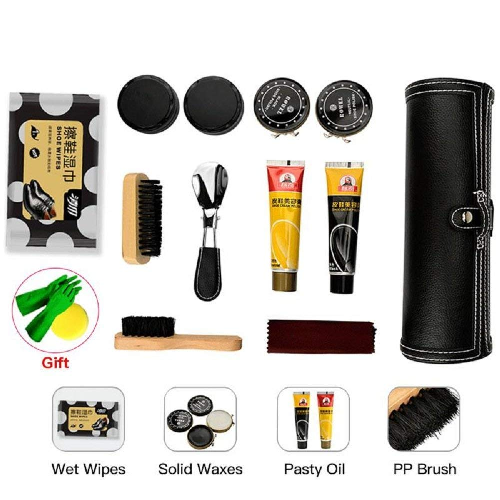 TOCGAMT 14 in 1 Travel Shoe Polish Kit with PU Leather Polish Oil