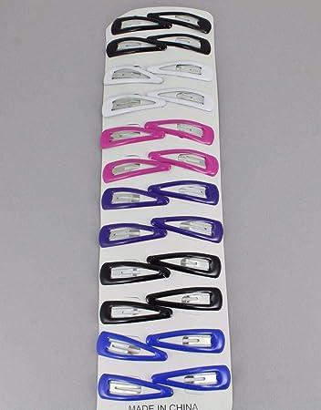 0372739c5 Amazon.com : 24 painted metal hair clip snap barrette click tic tac small  1.5 long : Beauty