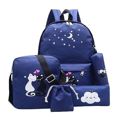 Juego de 4 mochilas de lona con impresión de gato para ...