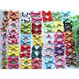 40pcs/20pairs New Dog Hair Clips Small Bowknot Pet Grooming Products Mix Colors Varies Patterns Pet Hair Bows Dog Accessories