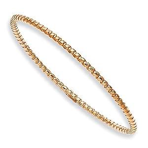 Rose Plated Stainless Steel Textured 3mm Slip On Bangle Bracelet